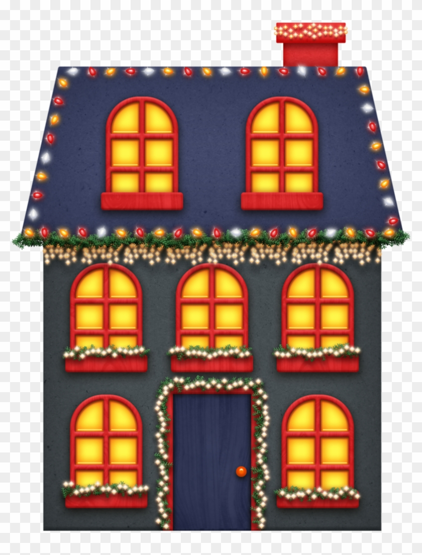Clipart houses lights.  christmas colors