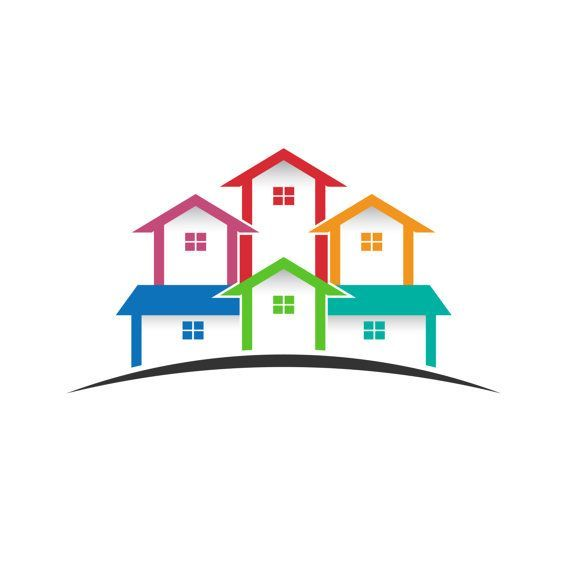 Real estate colored clip. Houses clipart logo