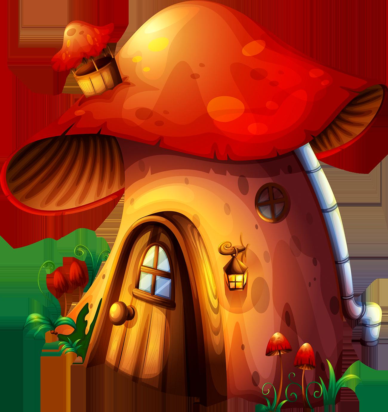 Mushrooms clipart button mushroom. House stock photography clip
