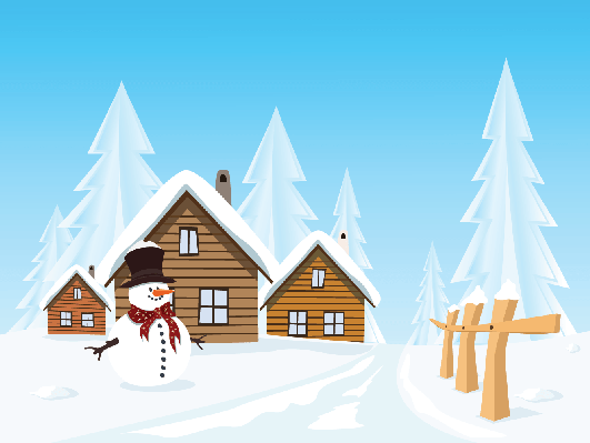 Landscape huts and . Winter clipart village