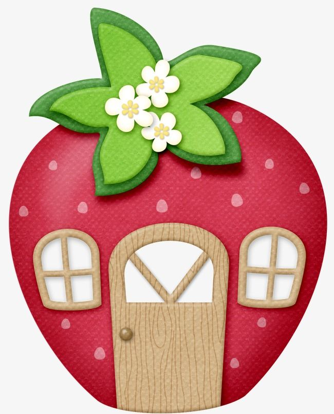 House felt ornaments patterns. Houses clipart strawberry
