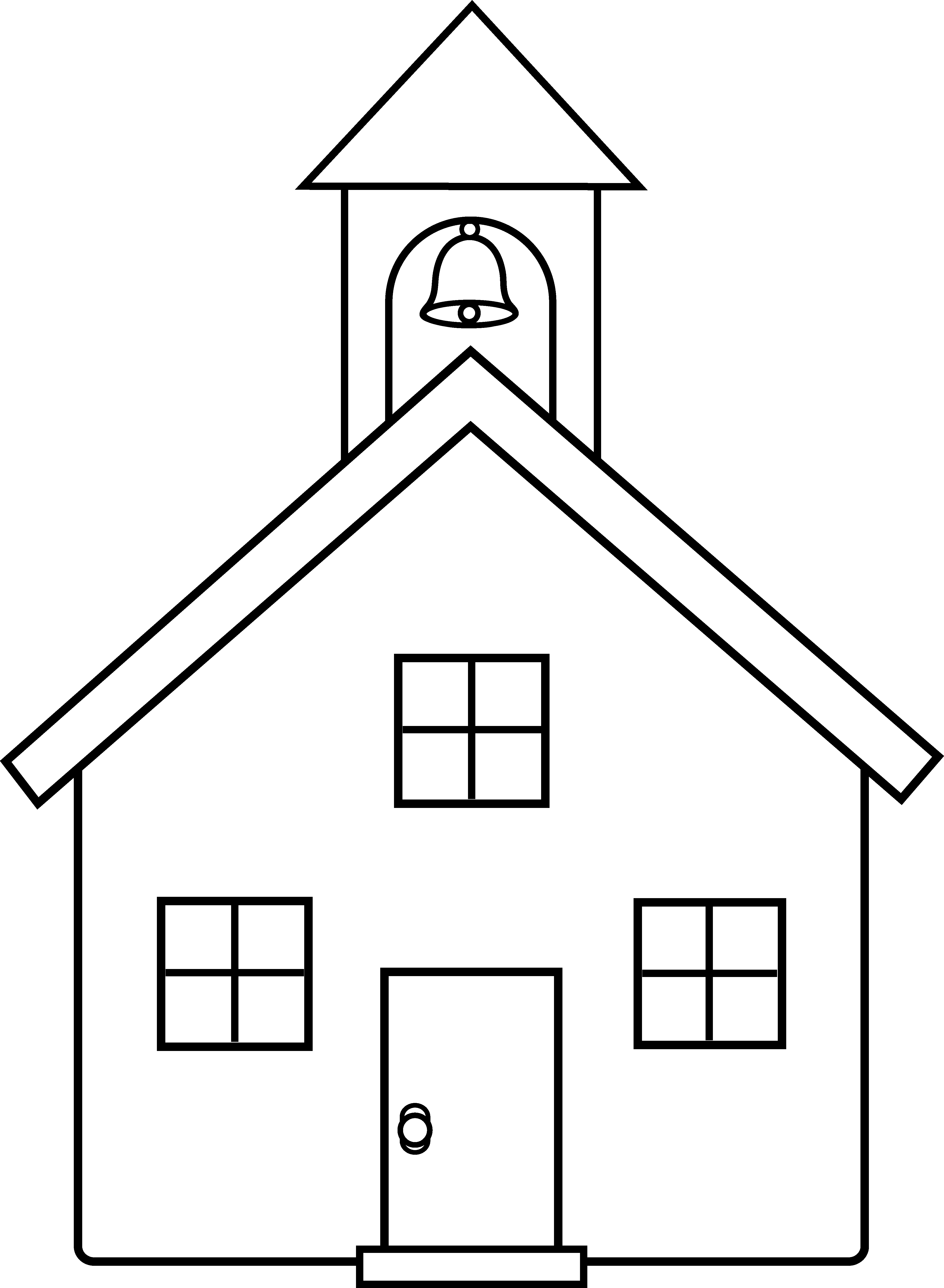 Home clipart country home. School house line art