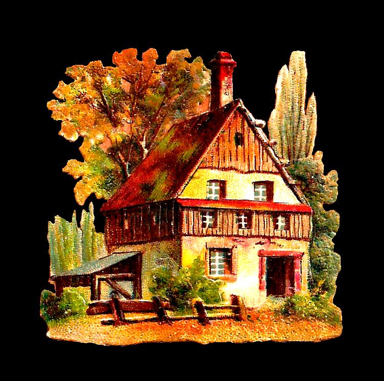 Antique images september here. Cottage clipart transparent