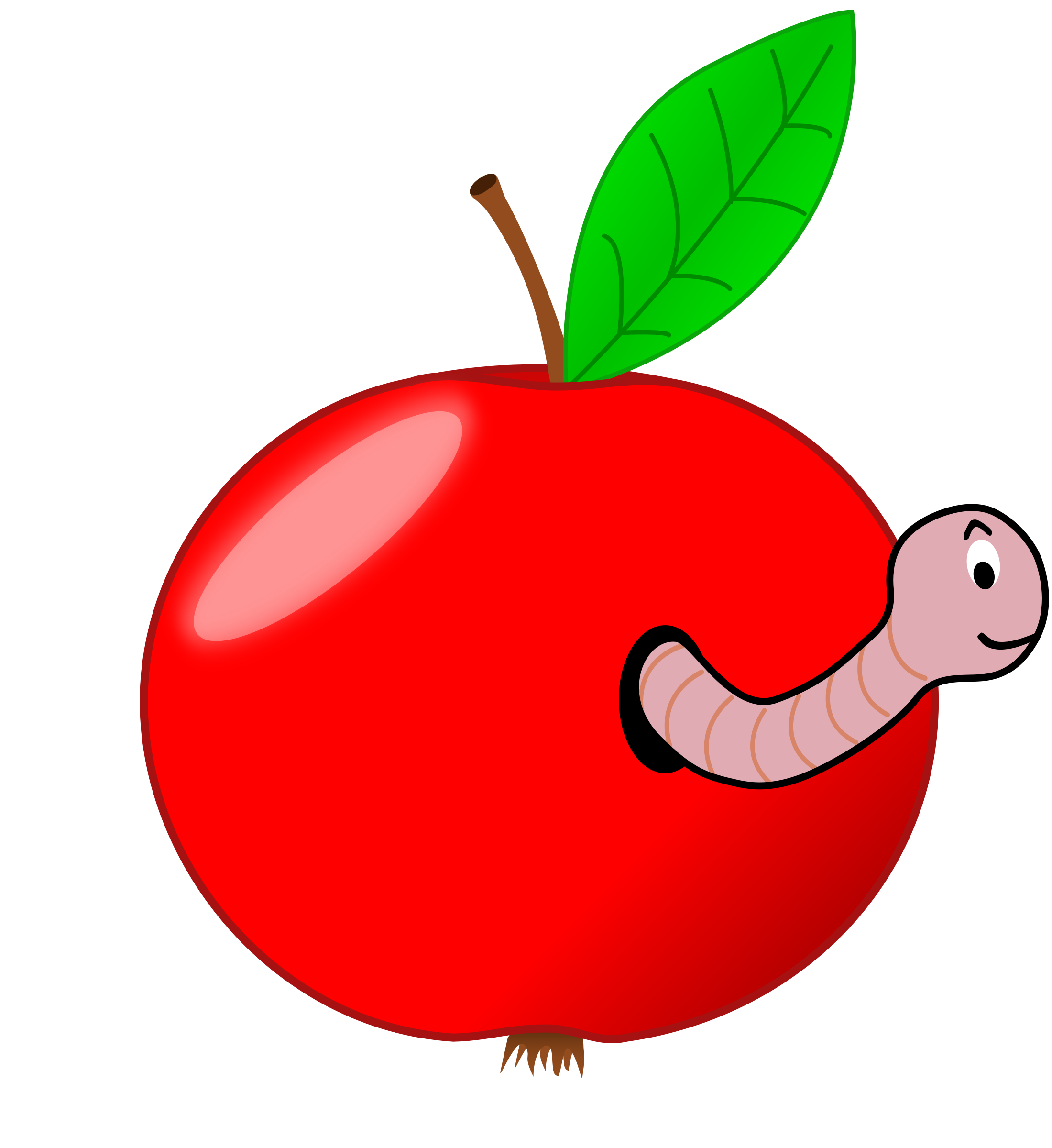 Worm clipart book reading caterpillar. Red apple with a