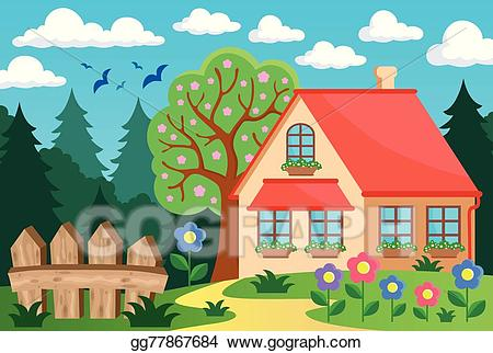 Vector stock garden and. Clipart houses yard
