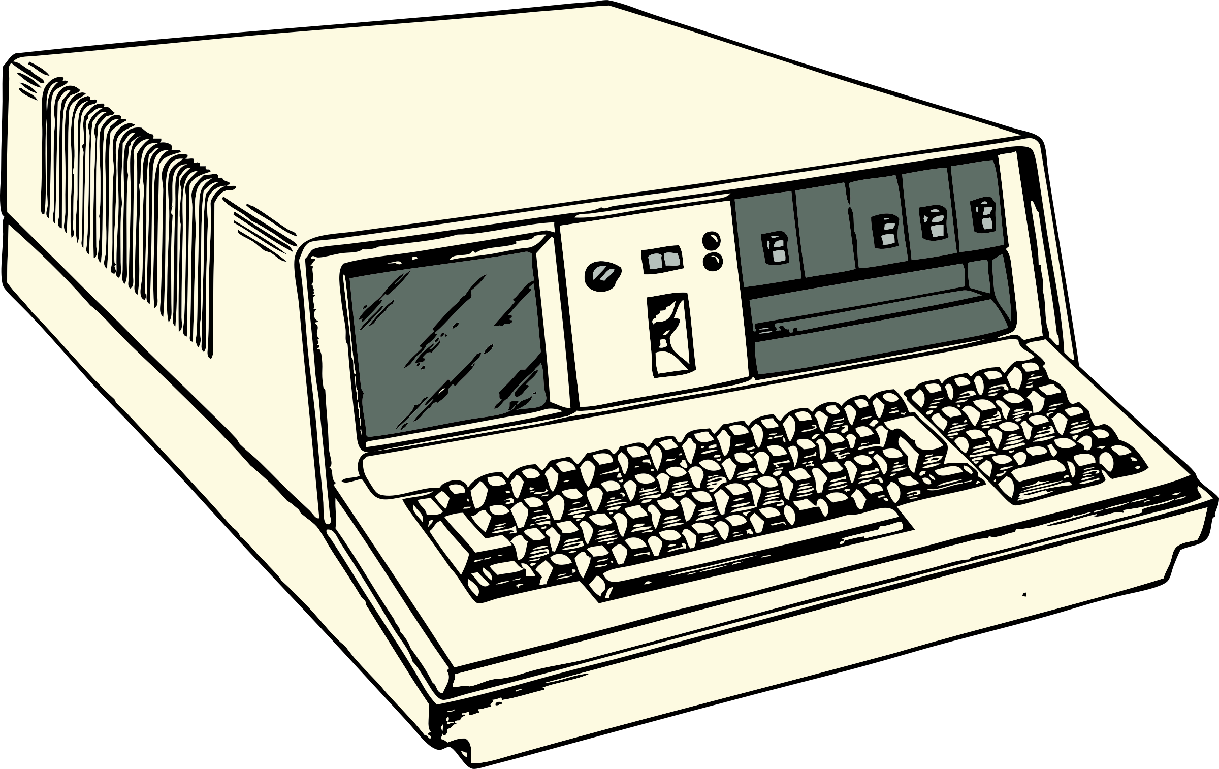 Pc clipart old computer. S era portable big
