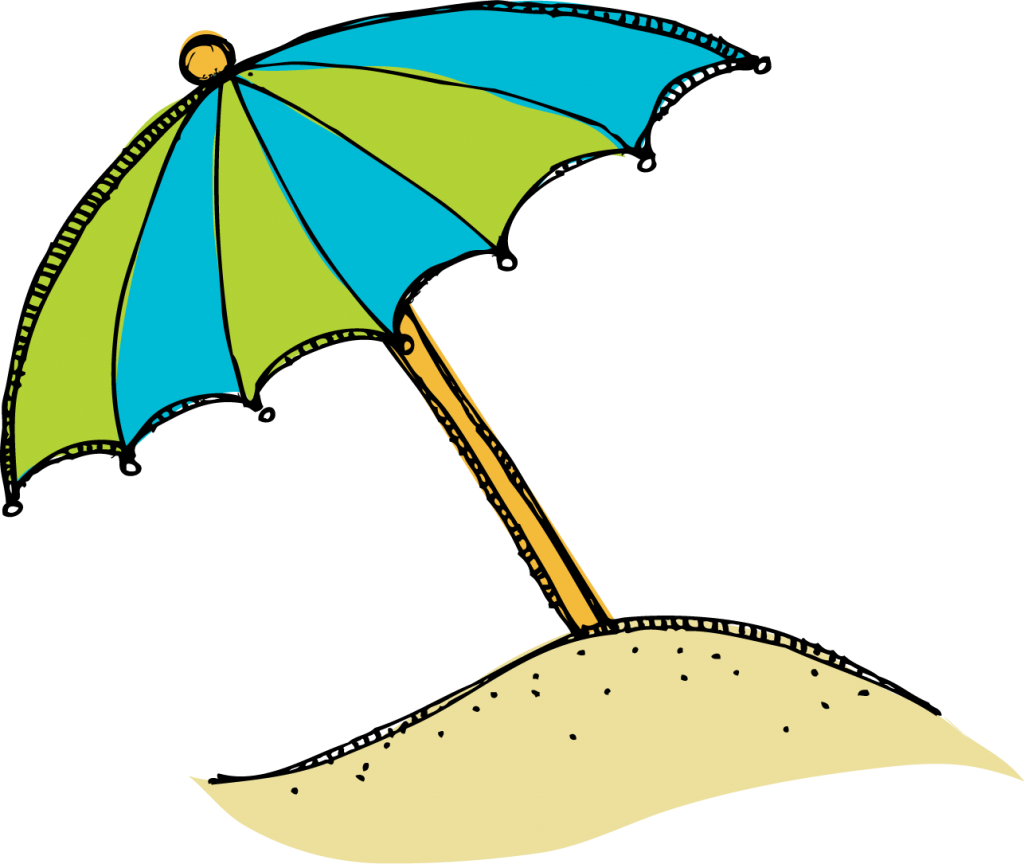 collection of beach. Clipart umbrella kawaii