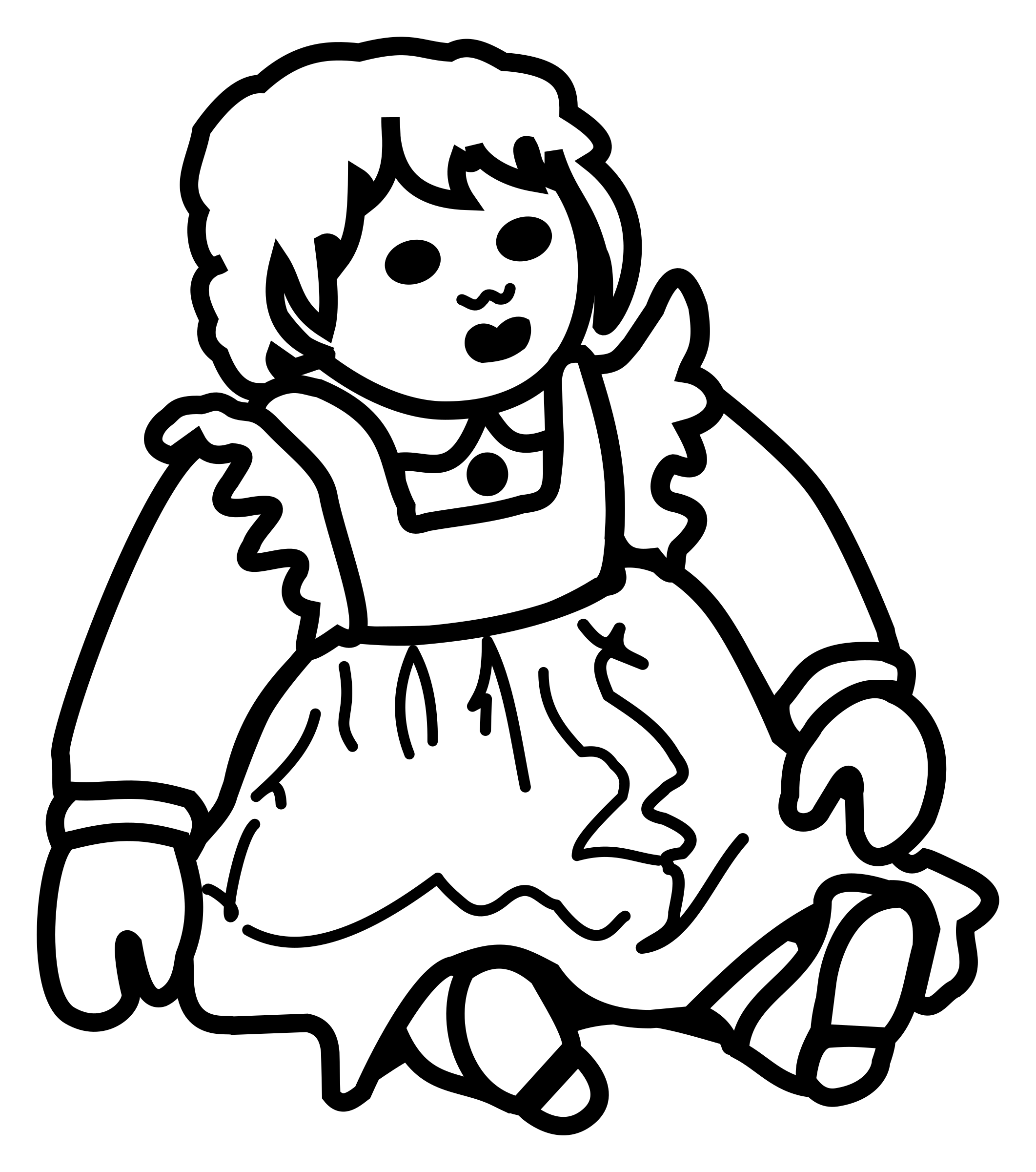 Lineart big image png. Coloring clipart doll