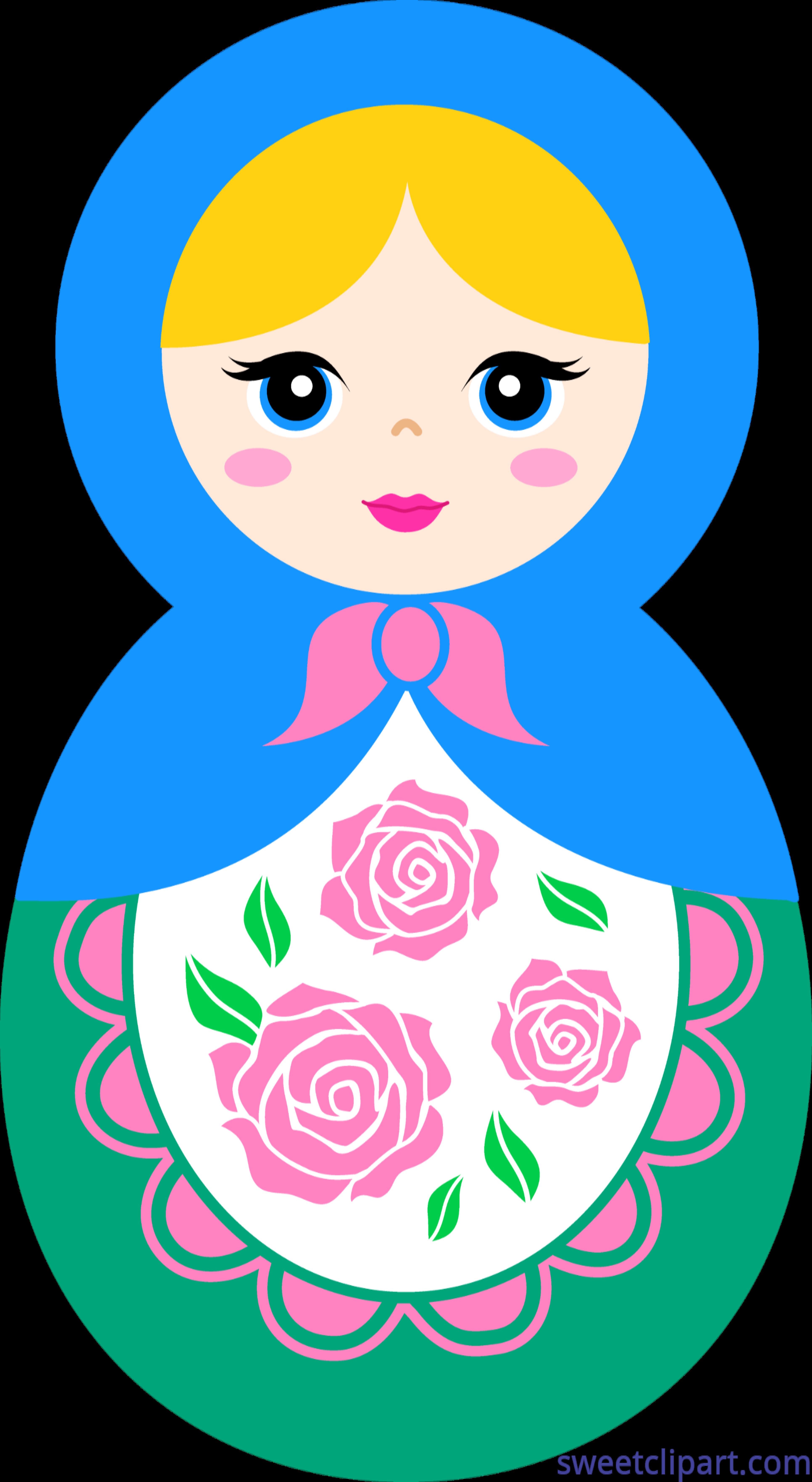 Dolls clipart line art. Matryoshka doll blonde clip