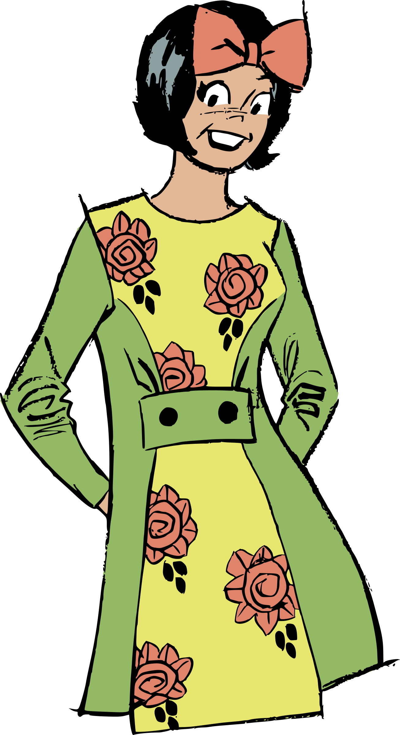 Dress big image png. Clipart woman flower
