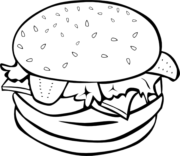 Hamburger clipart chicken burger. B and w clip