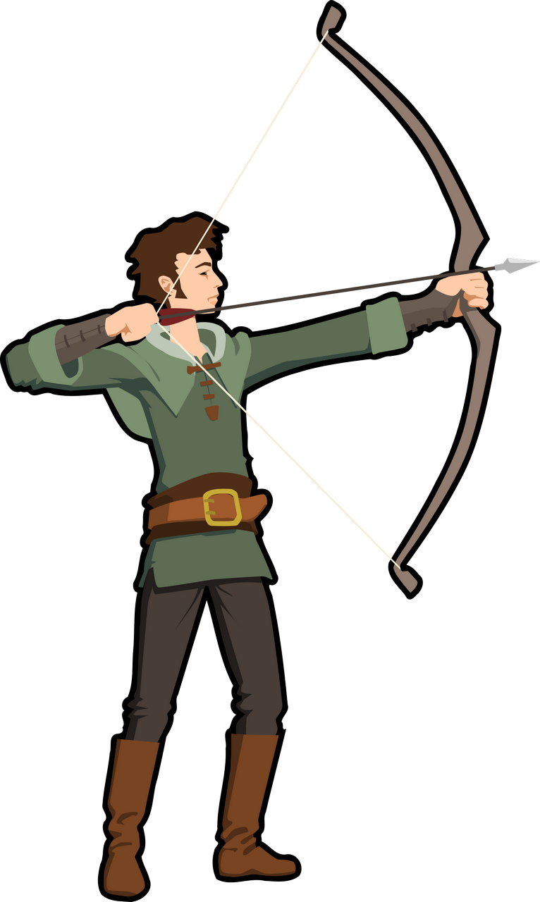 Hunter clipart target hunting. Archery bow and arrow