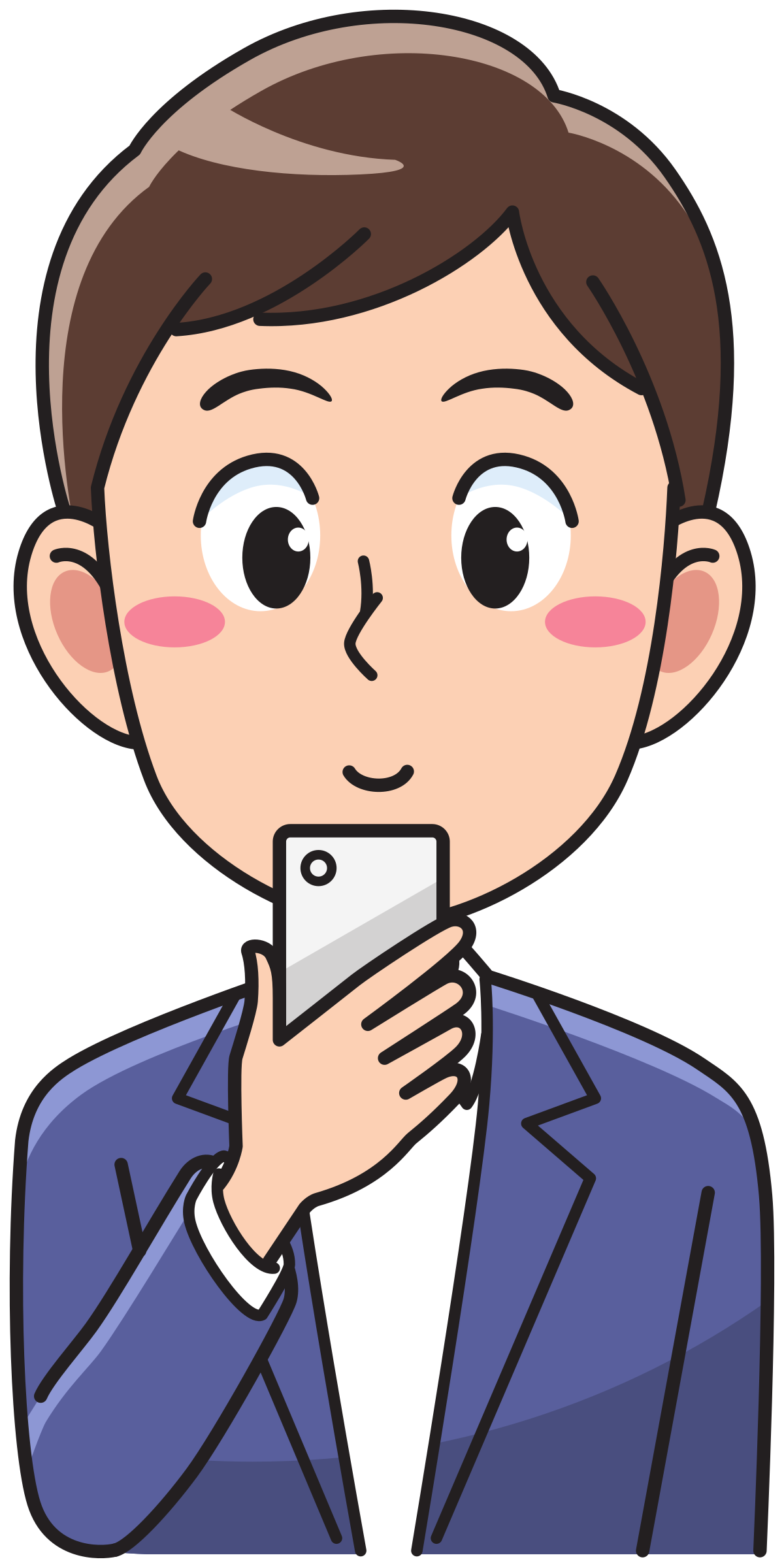 Using a smartphone big. Person clipart man