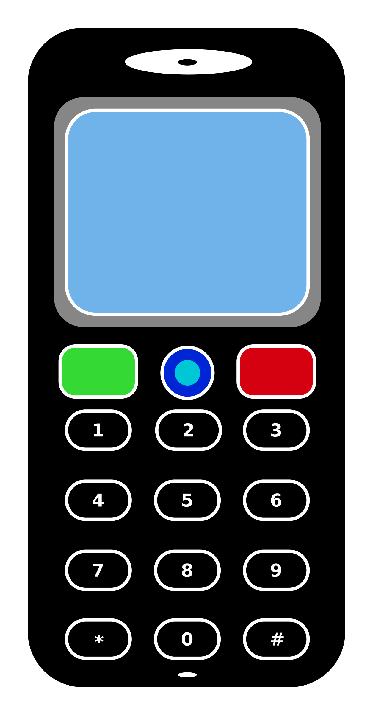 Mobile phone big image. Telephone clipart line drawing