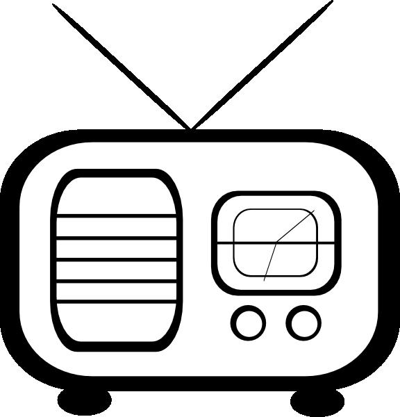 Alarm clock radio clip. Television clipart old fashioned