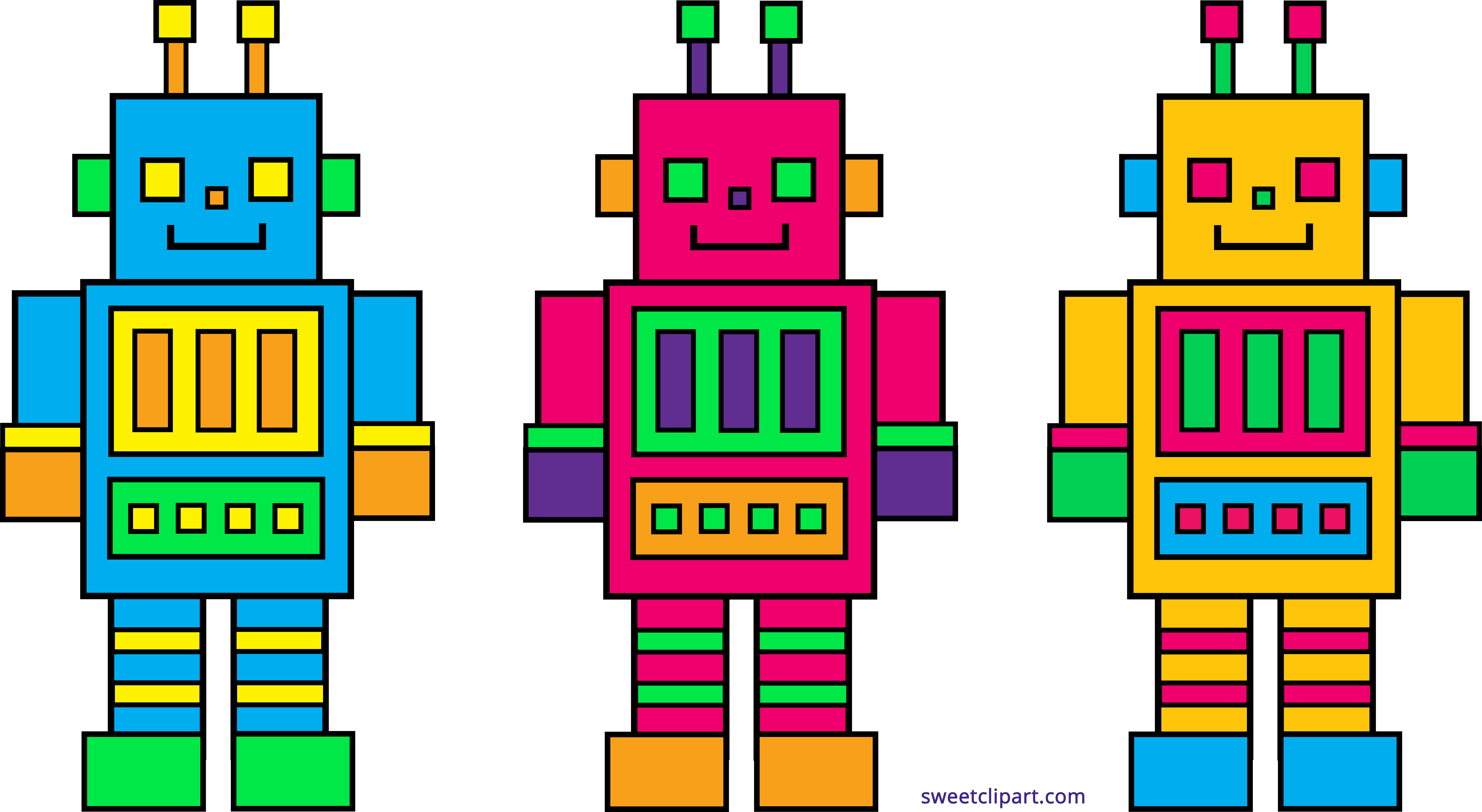 Party clipart robot. Three cute robots sweet