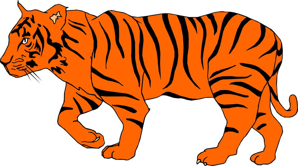Clipart walking tiger. Bengal clip art clipartix