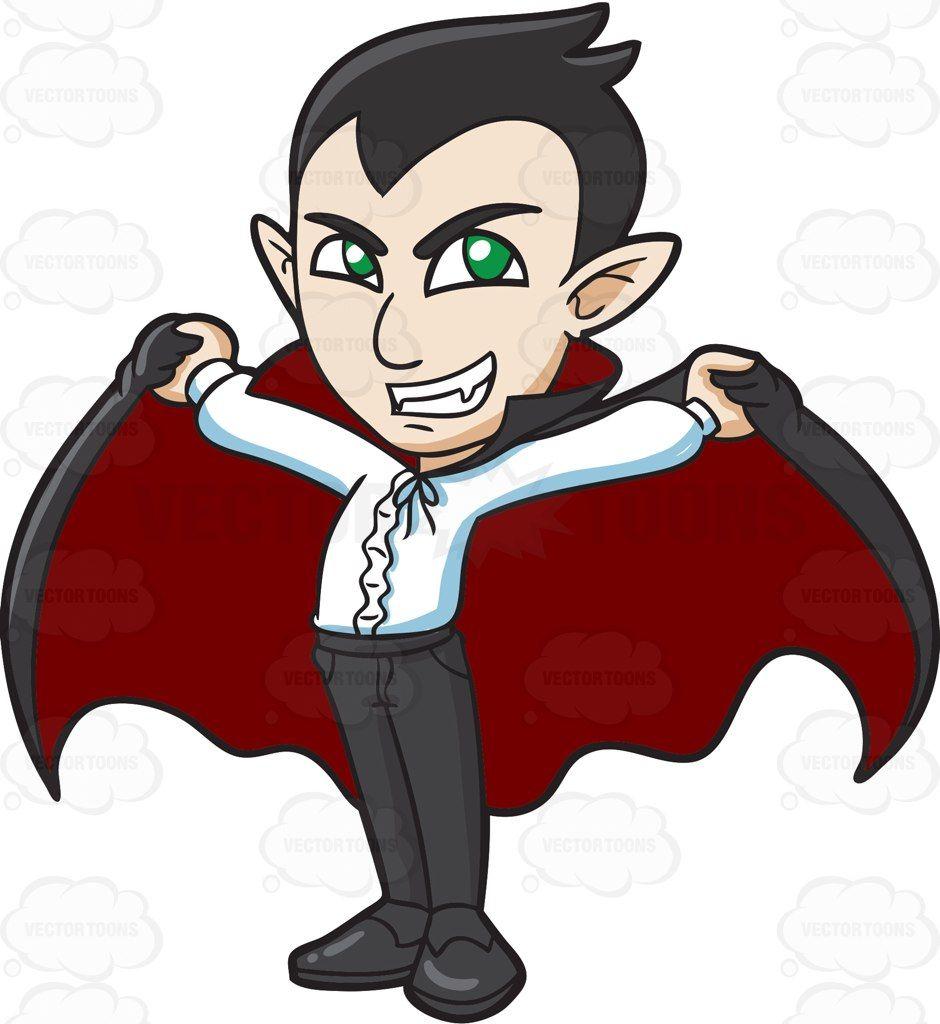 A proud cartoon vector. Vampire clipart green
