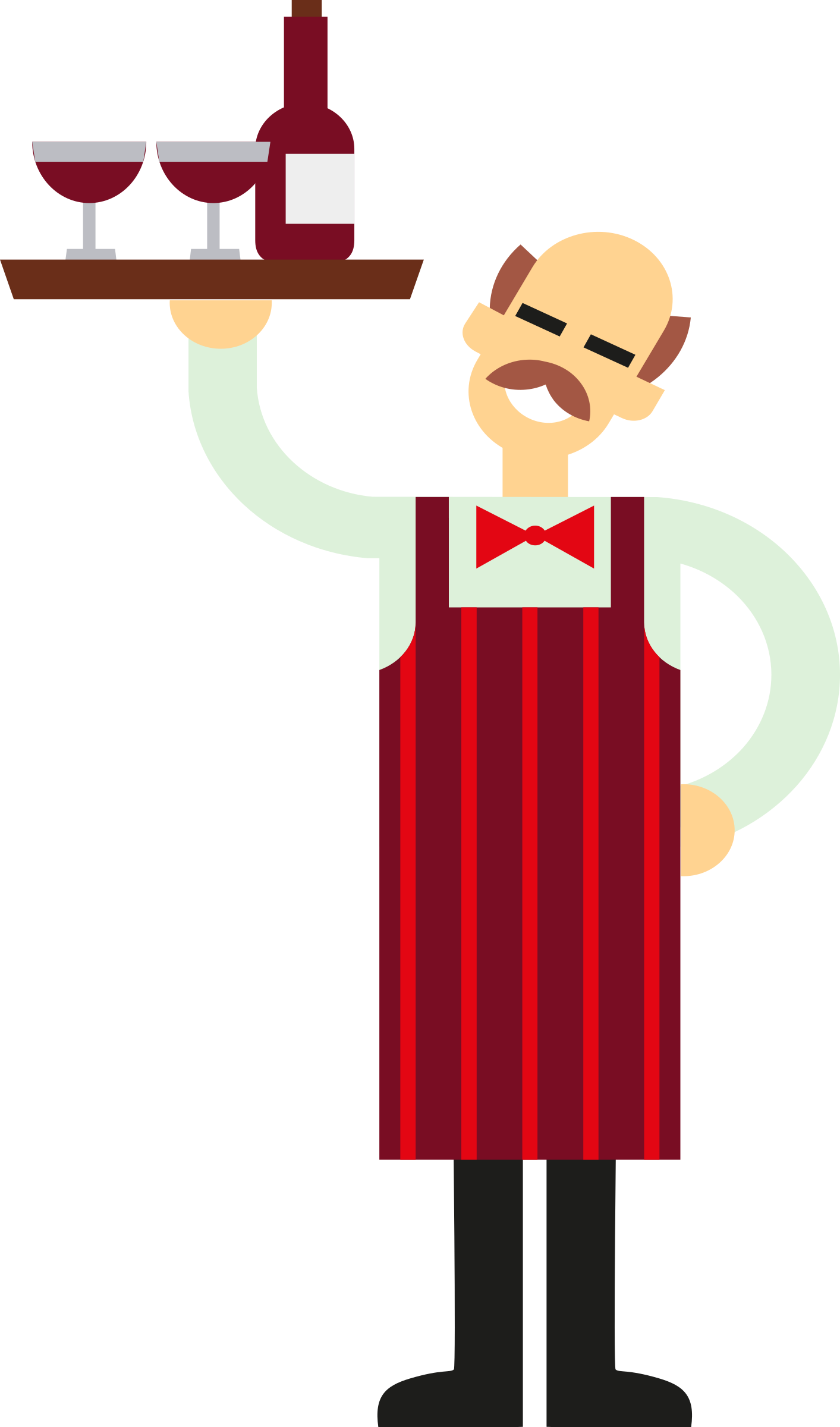 Clipart restaurant waiter. With wine big image