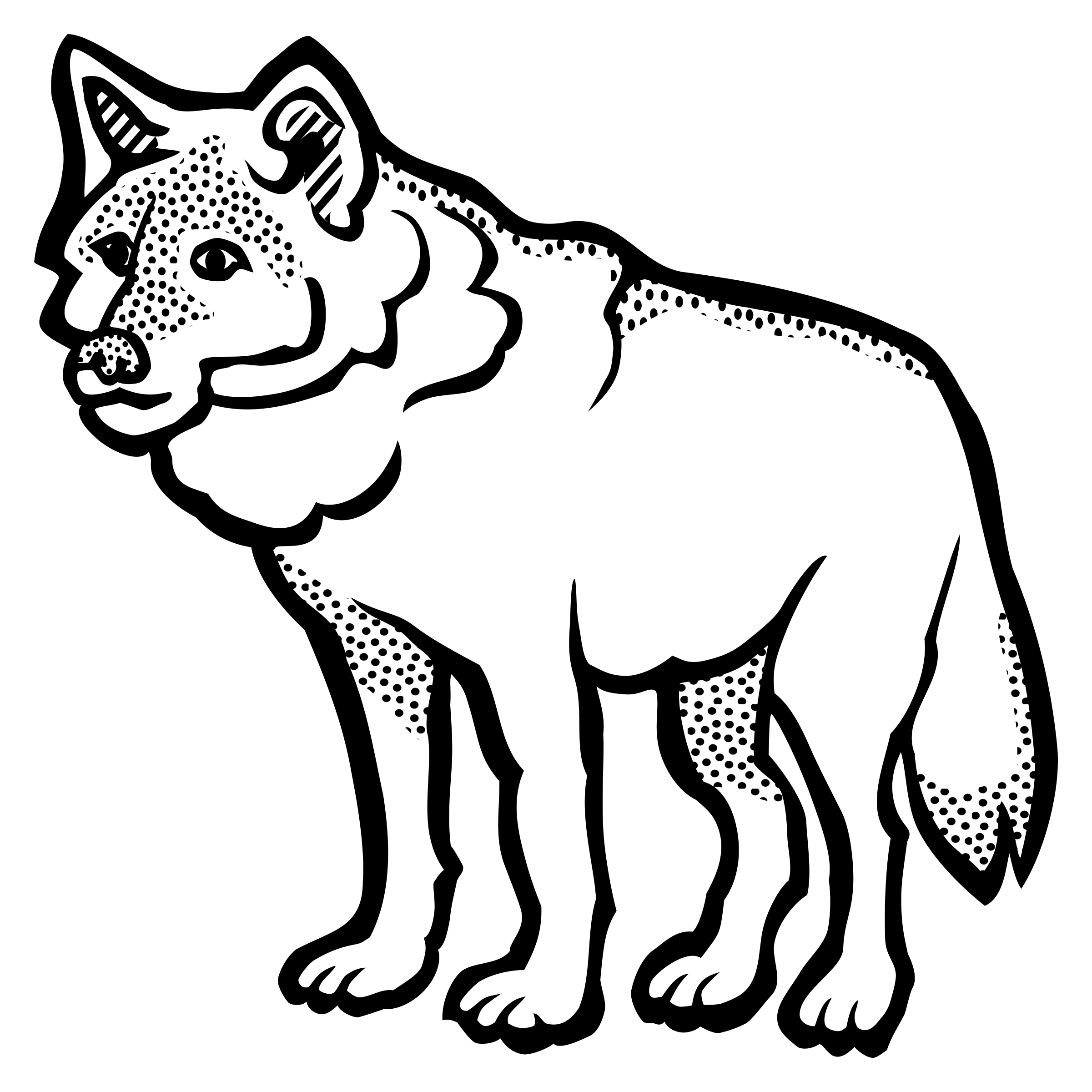 Lineart big image png. Wolf clipart line
