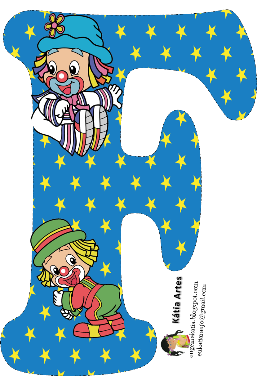 Alfabeto de los payasos. Party clipart alphabet