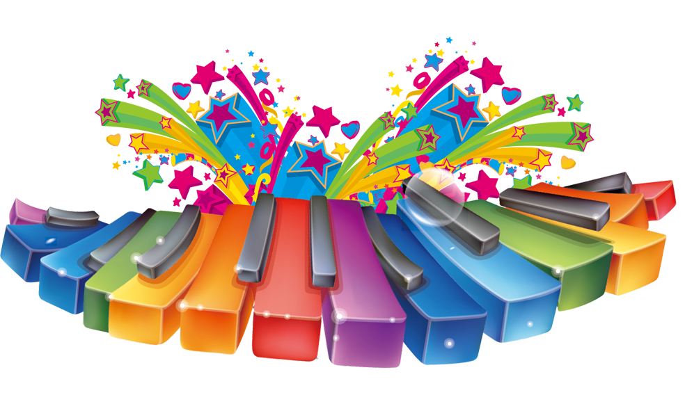 Piano musical instrument keyboard. Clipart key colorful key