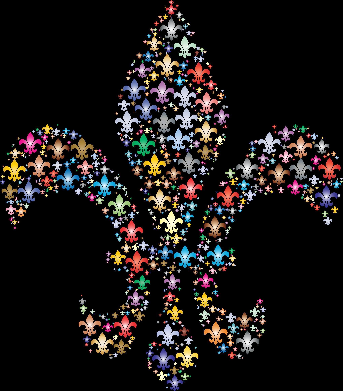 Fleur de lis fractal. Clipart key colorful key