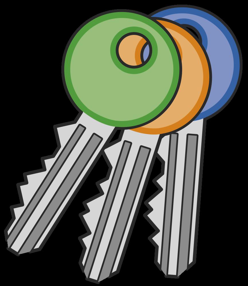 Lock clipart line art. Onlinelabels clip three keys