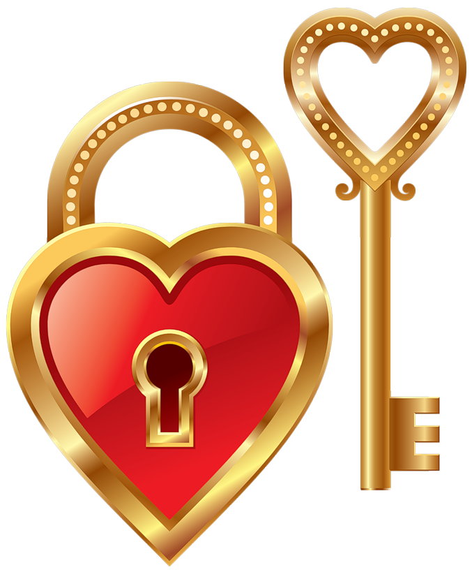Heart lock and key. Treasure clipart locked box