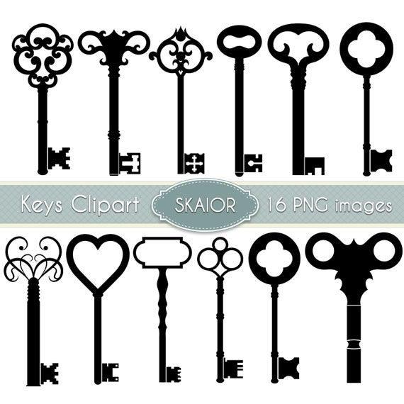 Key vintage skeleton clip. Keys clipart gothic