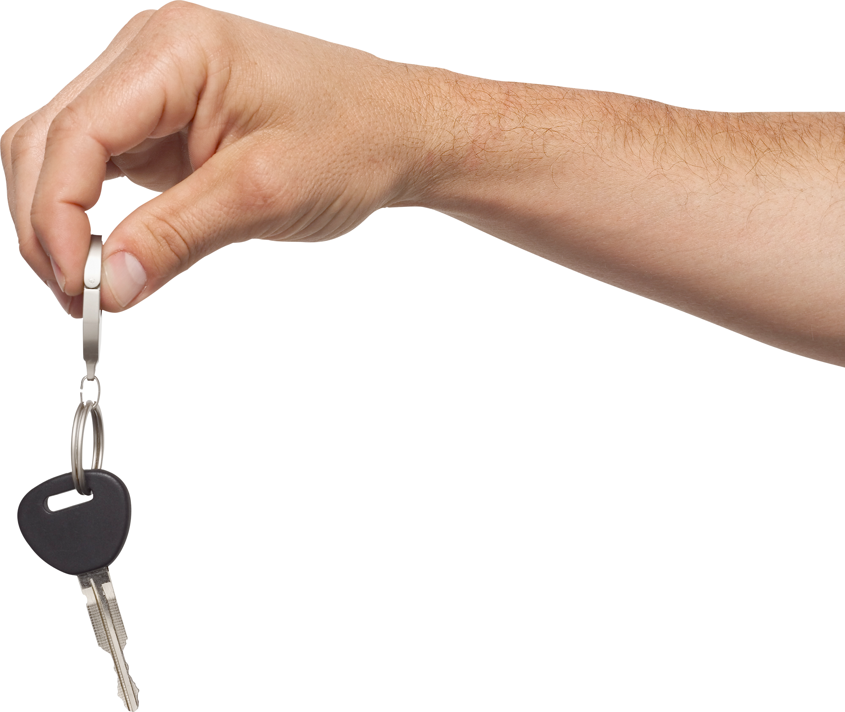 Hand holding key one. House keys png