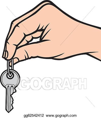 Vector art key drawing. Keys clipart hand holding