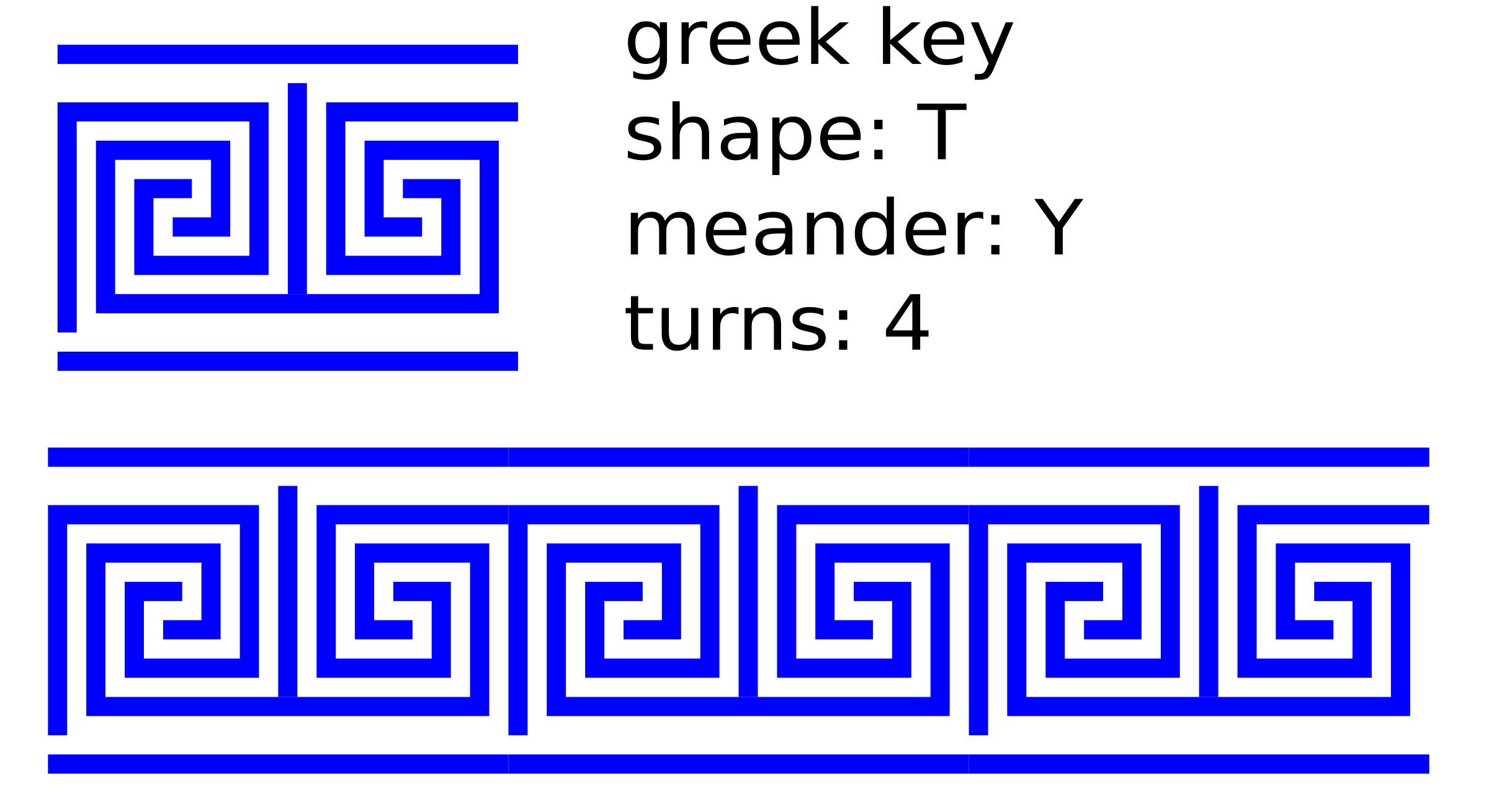 Greek key t shape. Lines clipart blue