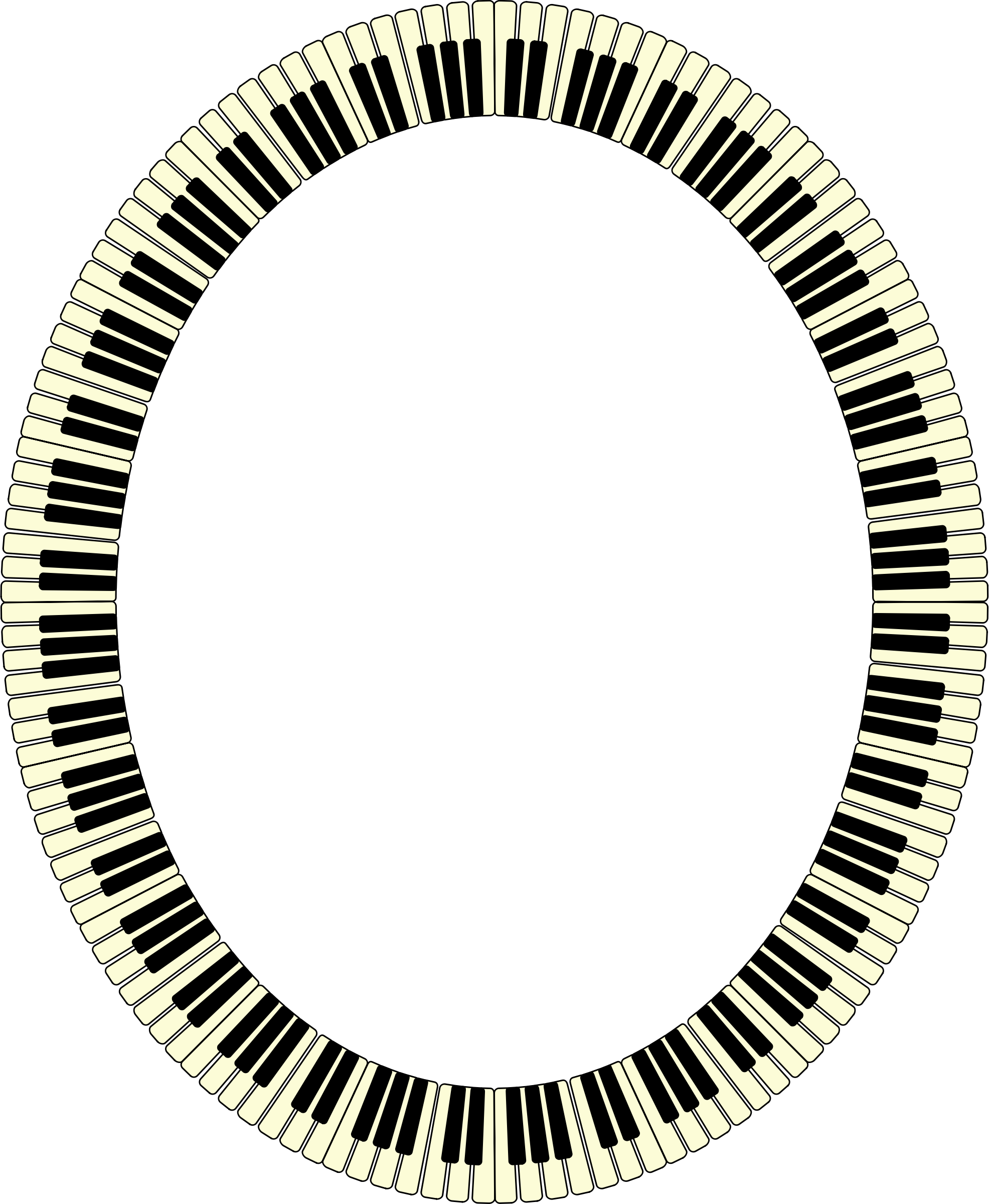 Keys ellipse inverted big. Piano clipart frame