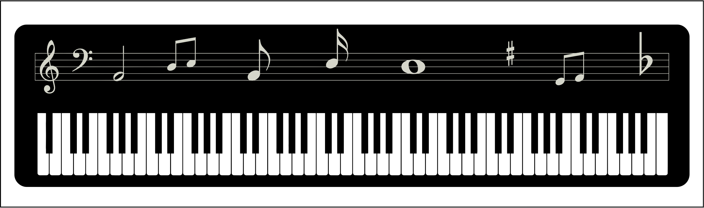 collection of keys. Piano clipart wavy