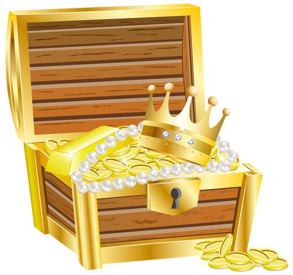 Treasure clipart golden. Chest with gold transparent