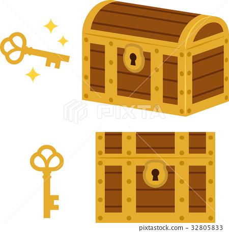Chest and stock illustration. Treasure clipart treasure key