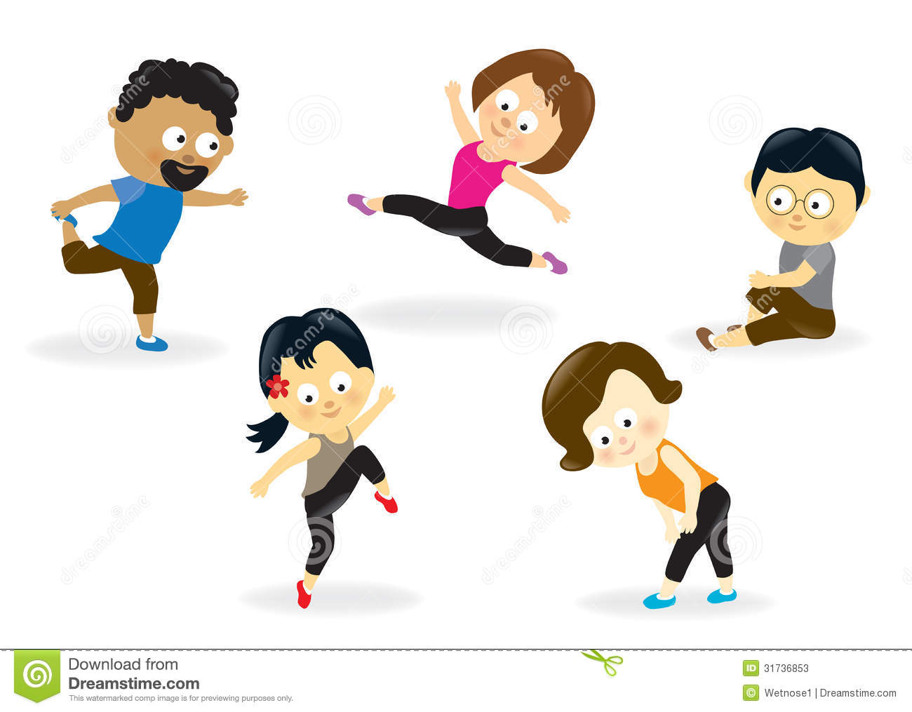 Aerobics look at clip. Gym clipart family