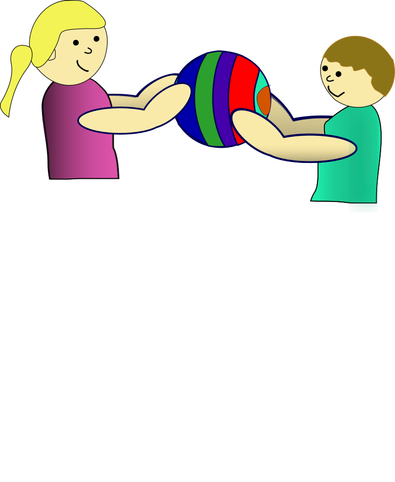 Children sharing a ball. Game clipart share and take turn
