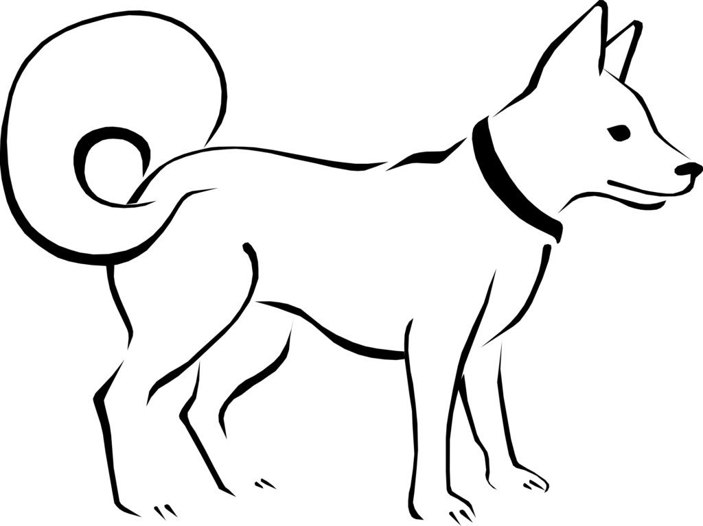 Free black and white. Dog clipart kid