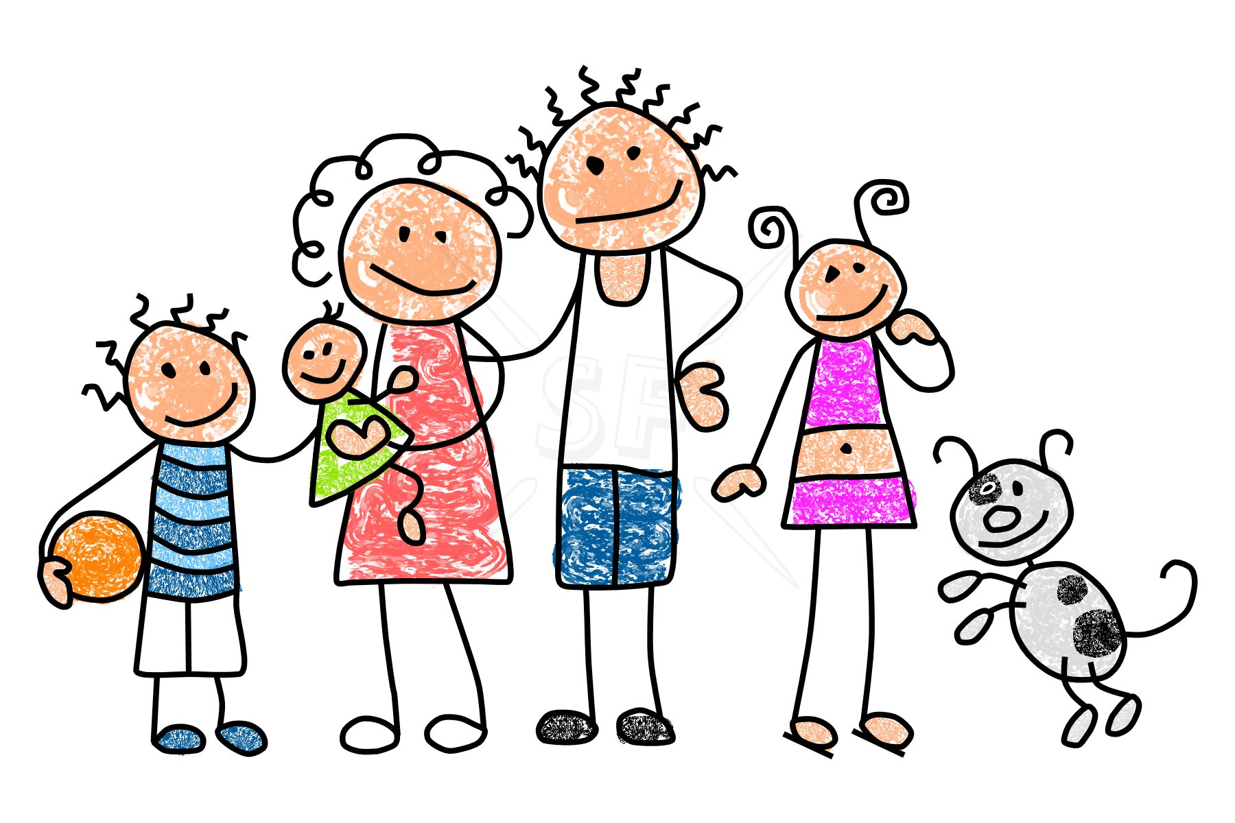 family and friends. Excited clipart five girl