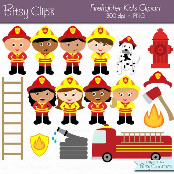 Kids digital art set. Firefighter clipart child