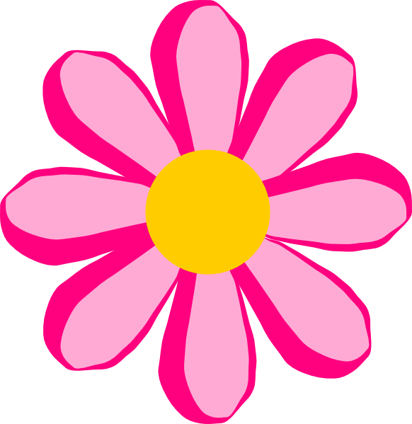 Pink flower clip art. Colors clipart animated