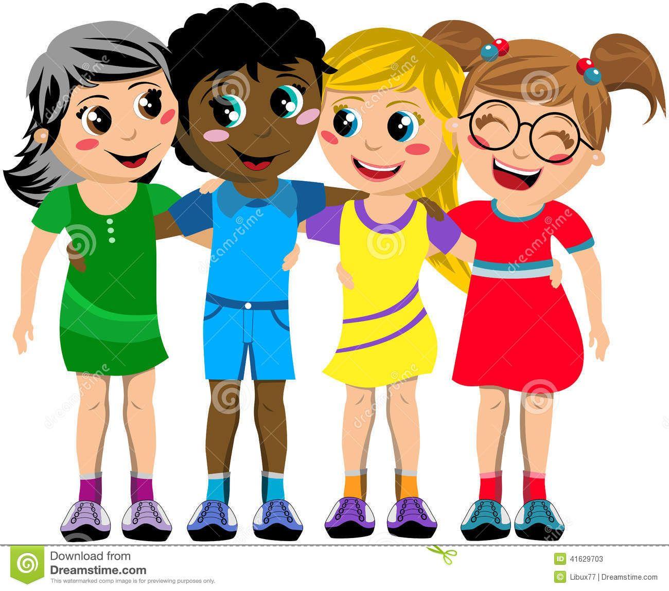 Hugging children group happy. Friendship clipart kid fun