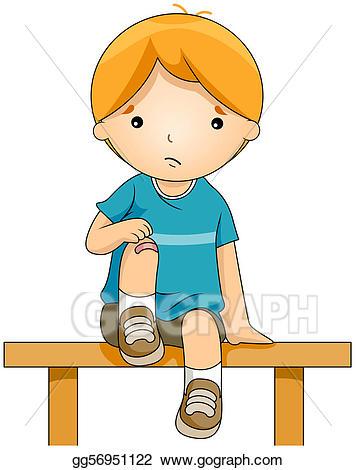 Stock illustration bandaged gg. Knee clipart wounded boy