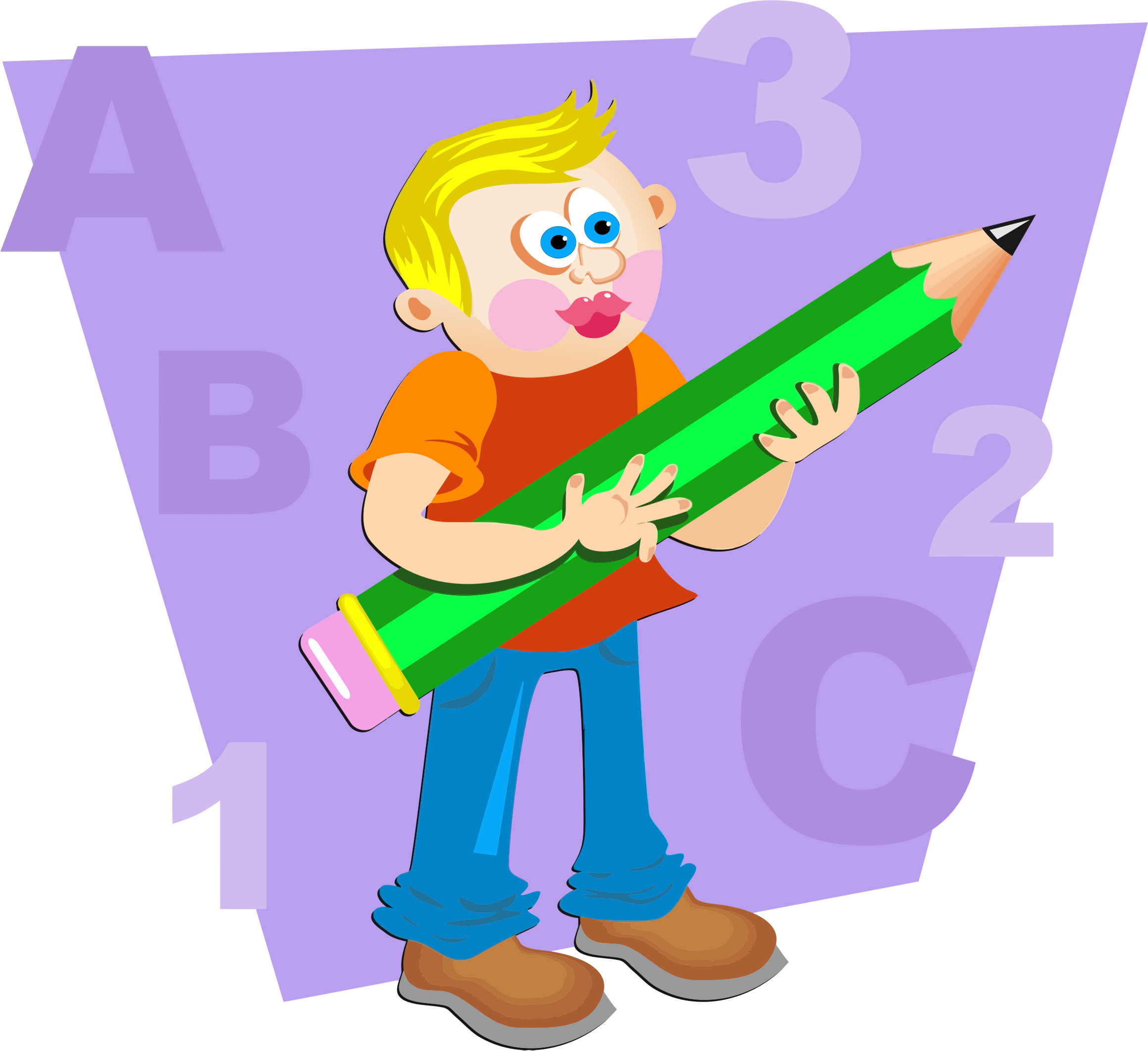 With giant big image. Clipart pencil boy