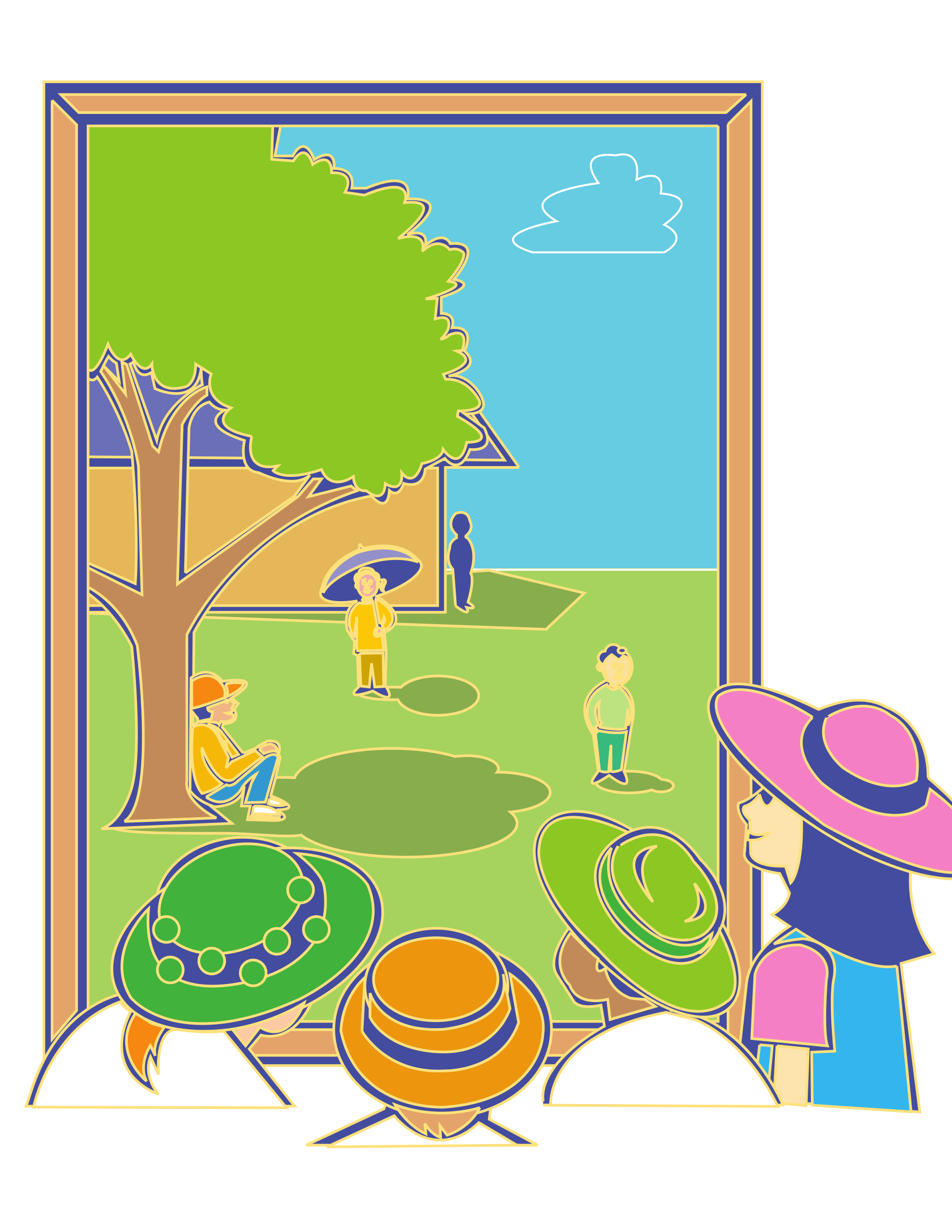 Kids looking window big. Outside clipart out
