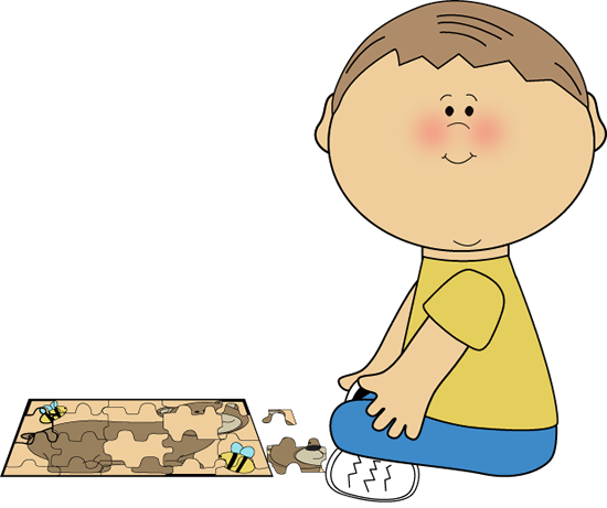 Puzzle clipart preschool. Boy playing with a