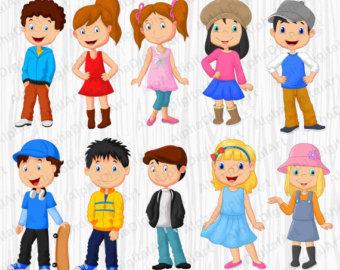 Clipart kids. Etsy cartoon set digital