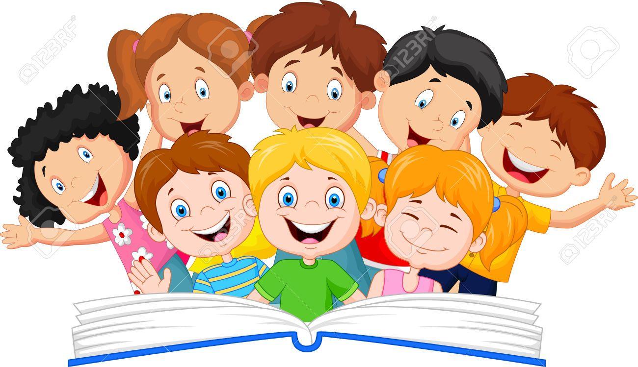 Kids reading stock illustrations. Textbook clipart kid book